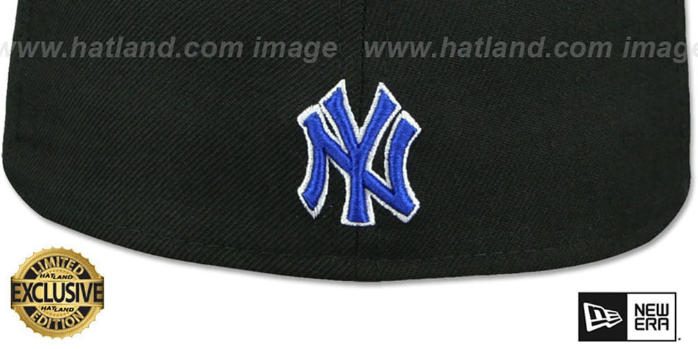 Yankees 'GOTHIC TEAM-BASIC' Black-Royal Fitted Hat by New Era