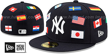 Yankees 'ALL-OVER COUNTRY FLAGS' Navy Fitted Hat by New Era