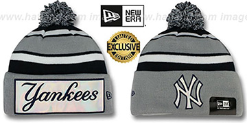 Yankees 'BIG-SCREEN' Grey-Navy Knit Beanie Hat by New Era