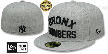Yankees 'BRONX BOMBERS' Heather Light Grey Fitted Hat by New Era