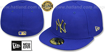 Yankees 'GOLD METAL-BADGE' Royal Fitted Hat by New Era