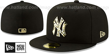Yankees 'GOLD SHATTERED METAL-BADGE' Black Fitted Hat by New Era