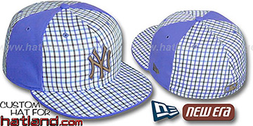 Yankees 'GOLD STAR' Plaid-Light Blue Fitted Hat by New Era