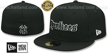 Yankees 'GOTHIC TEAM-BASIC' Black Fitted Hat by New Era