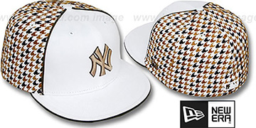 Yankees 'HOUNDSTOOTH' White-Brown Fitted Hat by New Era