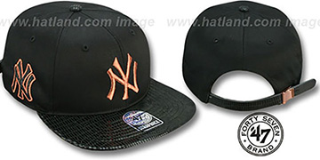 Yankees 'JULIGUNK STRAPBACK' Black-Copper Hat by Twins 47 Brand