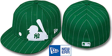Yankees 'MLB SILHOUETTE PINSTRIPE' Green-White Fitted Hat by New Era