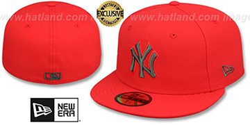 Yankees 'MLB TEAM-BASIC' Fire Red-Charcoal Fitted Hat by New Era