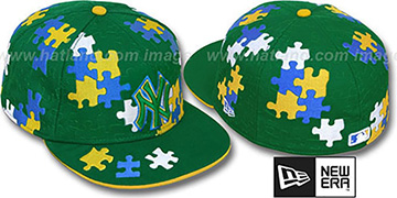 Yankees 'PUZZLE' Green Fitted Hat by New Era
