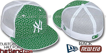 Yankees 'ST PATS FLOCKING' MESH-BACK Kelly-White Fitted Hat by New Era