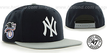 Yankees 'SURE-SHOT SNAPBACK' Navy-Grey Hat by Twins 47 Brand
