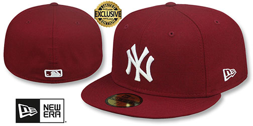 Yankees 'TEAM-BASIC' Burgundy-White Fitted Hat by New Era