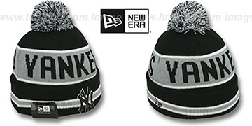 Yankees 'THE-COACH' Black-Grey Knit Beanie Hat by New Era