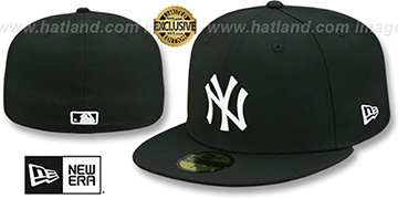 Yankees 'WHITE METAL-BADGE' Black Fitted Hat by New Era